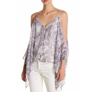 Wild Pearl Cold Shoulder Poncho Purple One Size